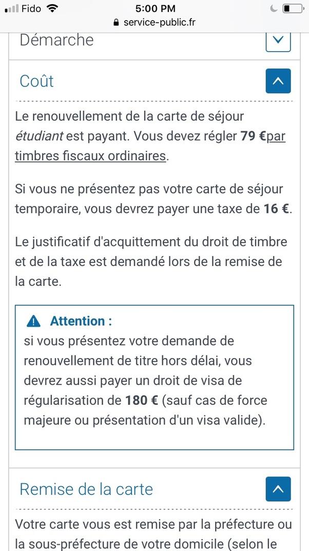 renouvellement carte de séjour temporaire d un an How much is the renewal fee for the French titre de sejour?   Quora