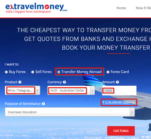 Here Take A Look At The Extravelmoney Exchange Rate For Transferring Money From India To Australia Wire Transfer Telegraphic Tt Method
