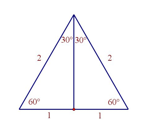 consider an equilateral triangle all sides length 2 all angles 60 and chop it into two congruent right triangles by a perpendicular to the base from the