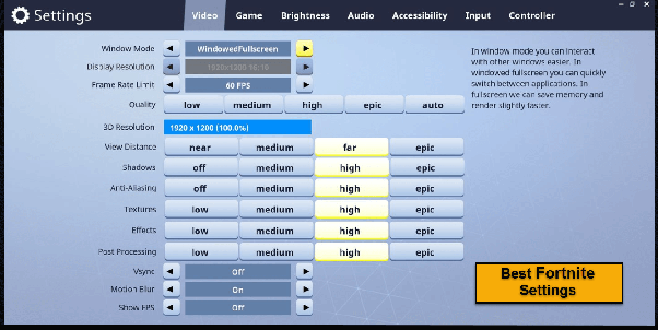 What are the best settings for fortnite on console? - Quora