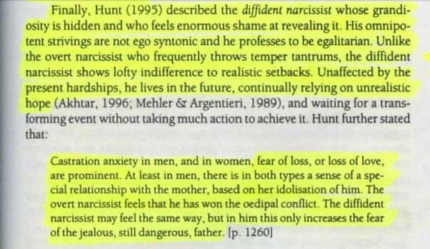 """In support of this, I found an article called """"The Shy Narcissist"""" by S.  Akhtar. Here's an excerpt:"""