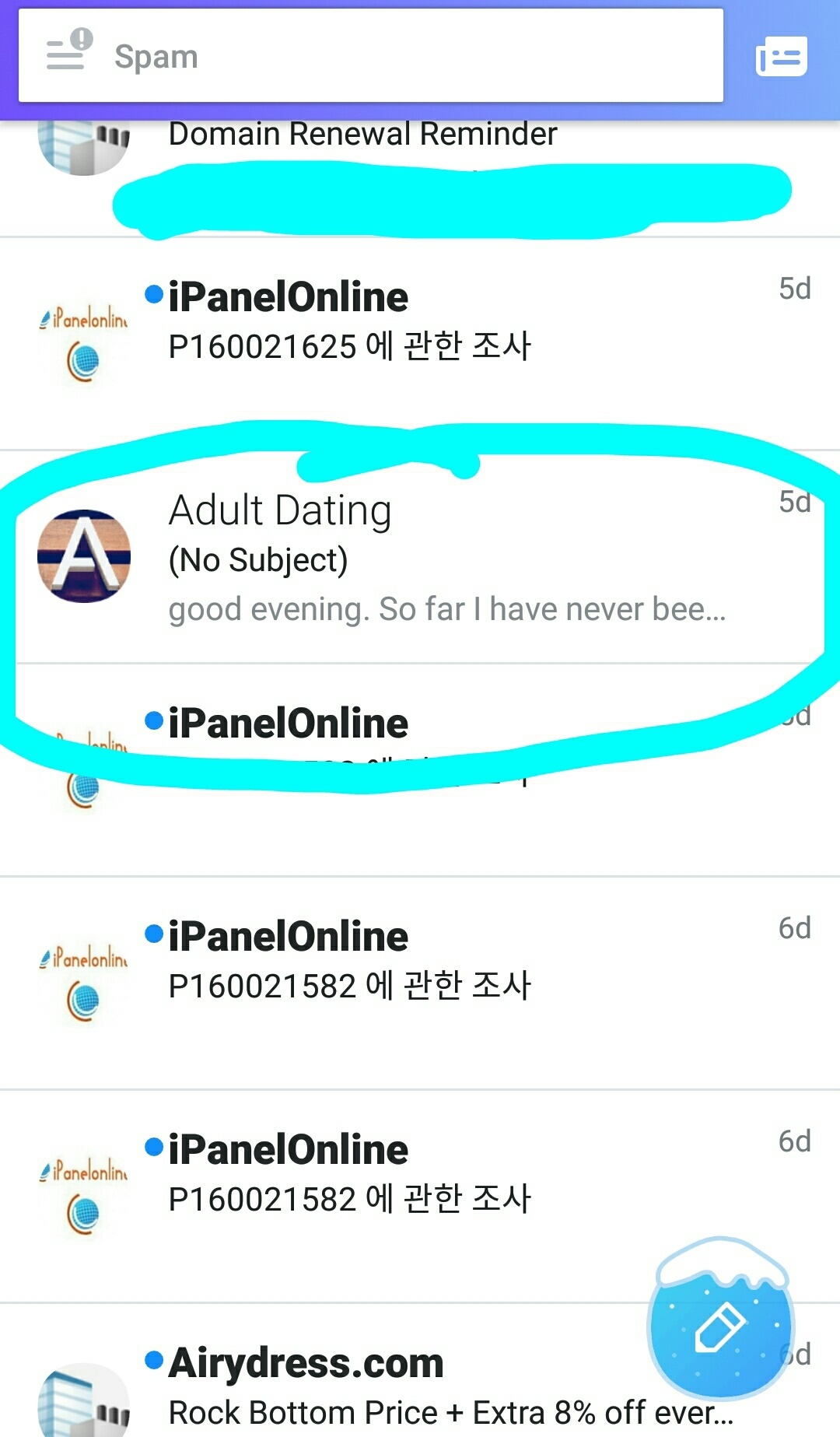 dating website spam e- mailuri