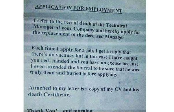 What are the funniest cover letters written for a job application my salute to you spiritdancerdesigns Image collections
