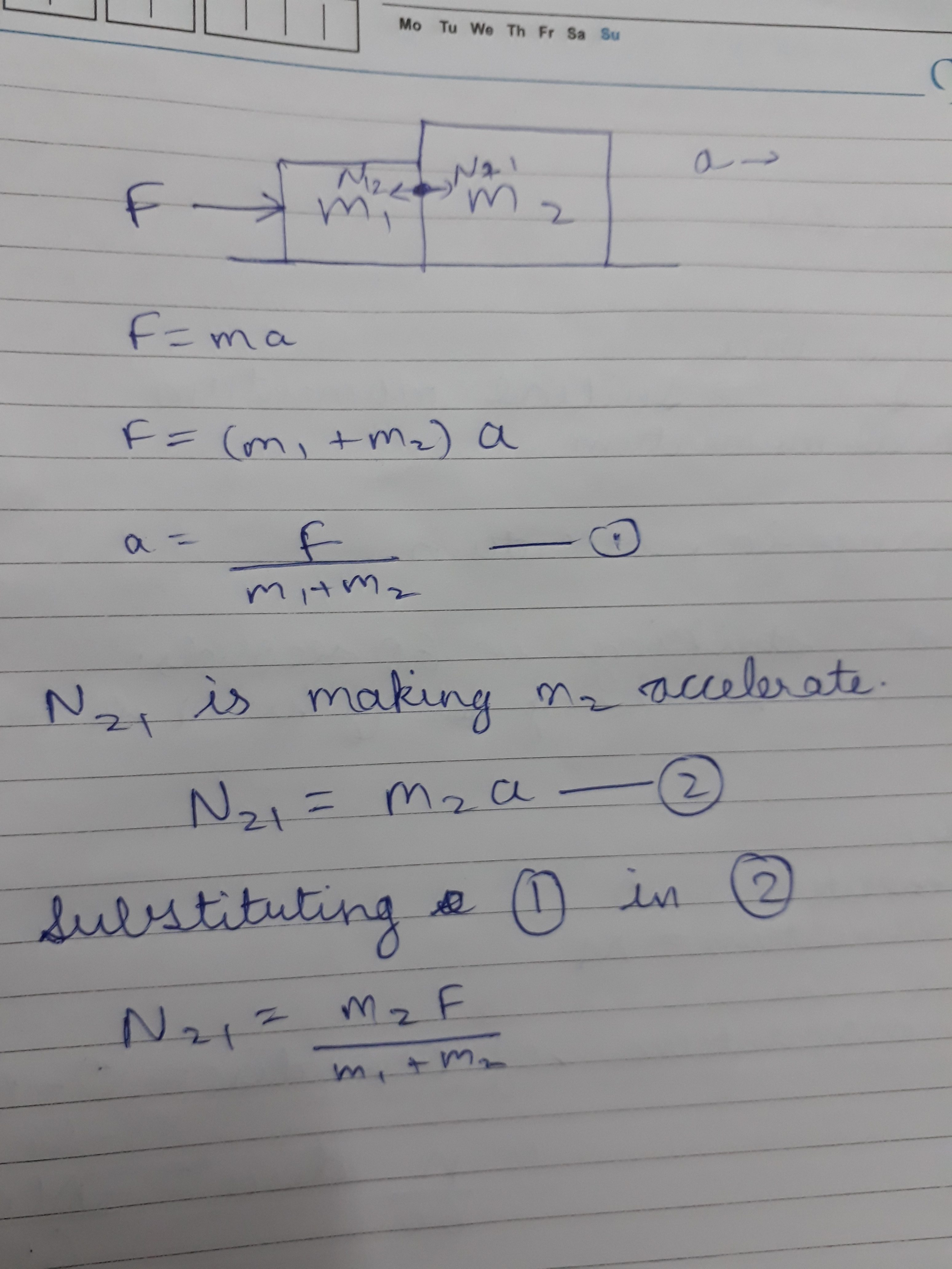 If Two Blocks Having Mass M1 And M2 Are Pushed With A Force F On Draw Freebody Diagrams For Each Of The Andthepulley 1k Views View 2 Upvoters Answer Requested By Abhijeet Kumar