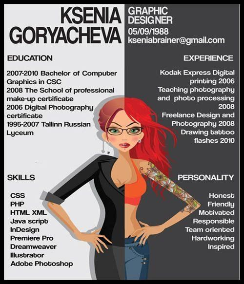 What Would You Do If You Want To Apply For A Graphic Designer And What  Ksenia Did Surely Amaze You.She Created An Infography Which Says That She  Is Not A ...  Best Resume Ever