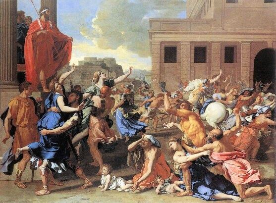 before composing oath of the horatii david went to see poussin s rape of the sabine women and employed the lictor the caped man on the far left as the