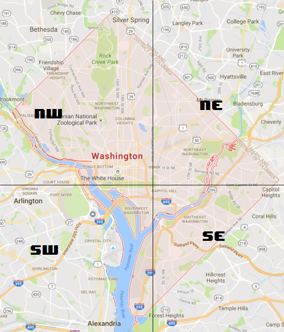 How are the street names and numbers assigned in Washington DC
