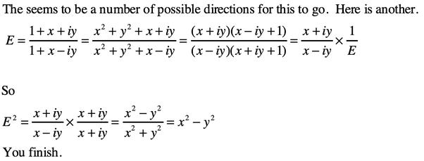 �y�.iy~��[�_Ifx^2+y^2=1,thenwhatis(1+x+iy)/(1+x-iy)equalto-Quora