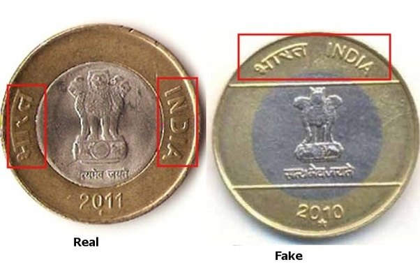 How To Differentiate Between True And Fake 10 Rs Coins Quora