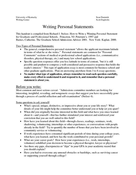 How do i write a personal statement for college