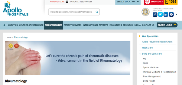 Which is the best hospital in Bangalore for rheumatology