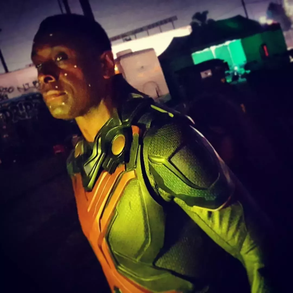The white dots are used by the Visual Effects artists to map David's facial expressions, which will then be used to show Martian Manhunter's face on David's ...