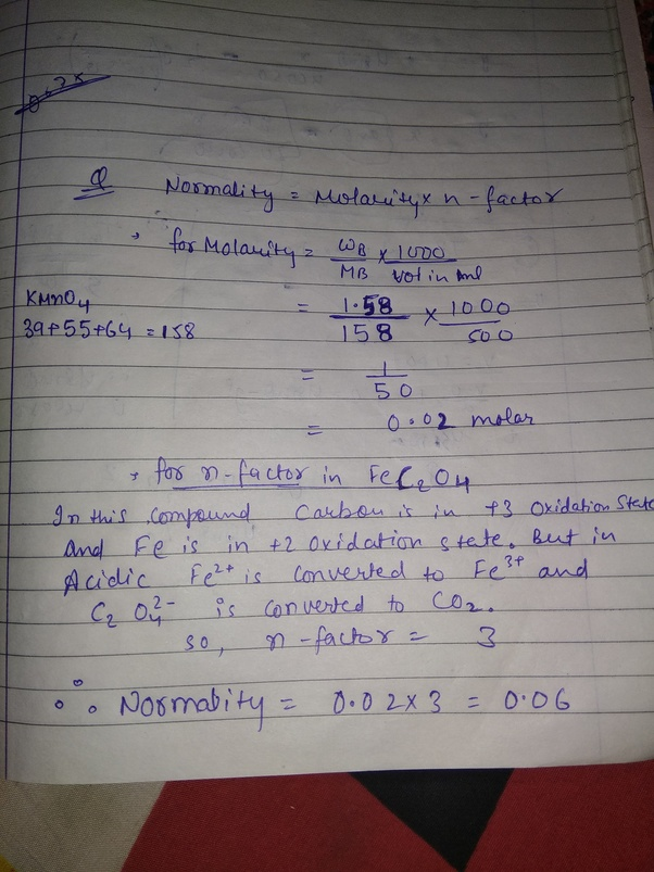 What is the normality of 1 58 gm of KMnO4 in a 500ml acidified