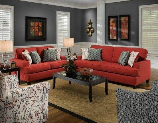 Delicieux Use Dark Colors On The Walls Look Good With The Cherry Red Furniture And  Black/gray Accessories. To Know More About Decorating Red Living Room  Furniture You ...