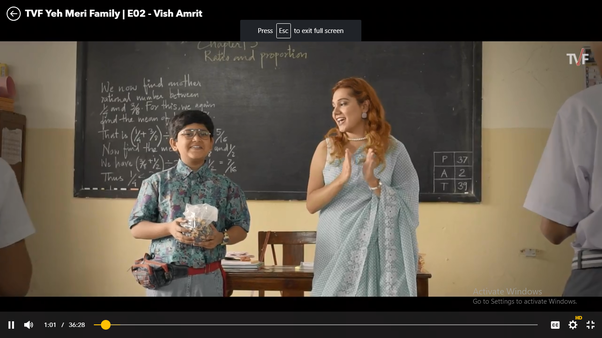 What do you notice about the 'Yeh Meri Family' TV series by TVF so
