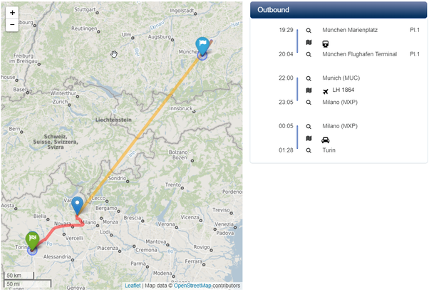 What map can plot a trip using multiple modes of travel