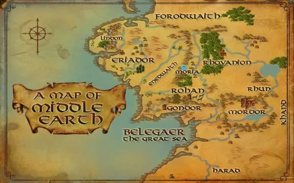 see this map this is a very simple map of middle earth