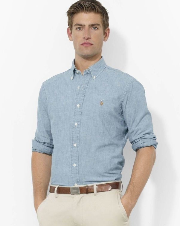a7ad91d739d Casual  Blue button down with dark jeans (sleeves  up or down is optional)
