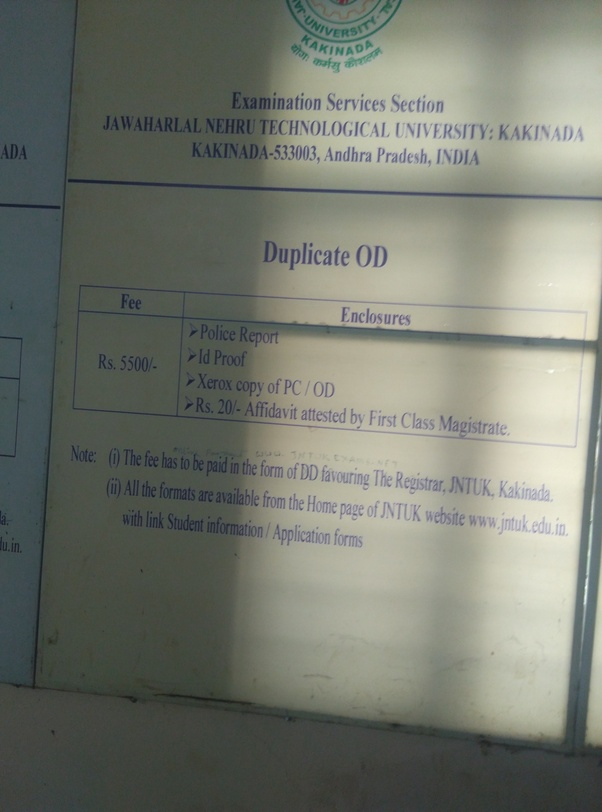 What is the process for getting an OD of JNTU Kakinada? - Quora