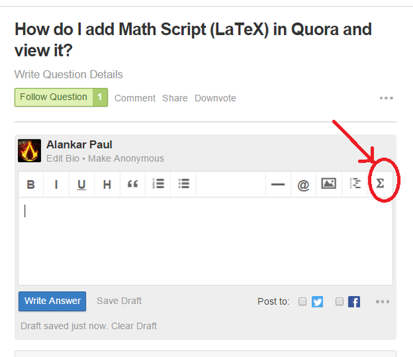 How To Add Math Script Latex In Quora And View It Quora