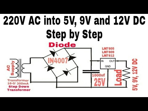 Can I Get The Circuit Diagram Of Conversion Of 230v Ac To 9v Dc