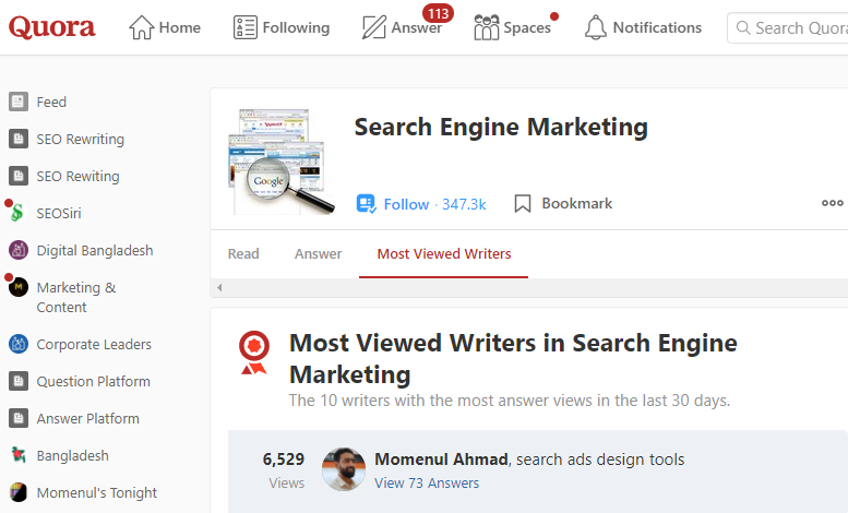 Momenul Ahmad The Most Viewed Writers In Search Engine Marketing (SEM) On Quora