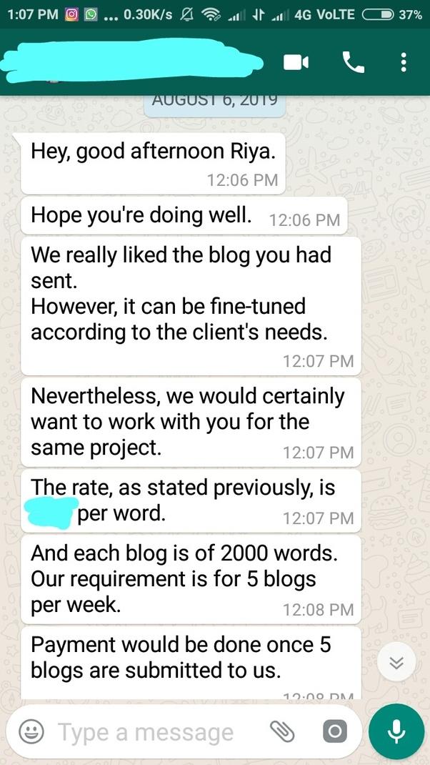 Client's message