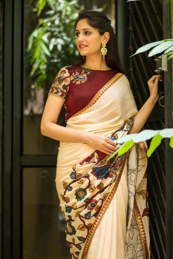 2a97b495178b8 Contrast  Use primary colors or their tints or shades to create the contrast  between the saree and blouse. It gives life to the saree.