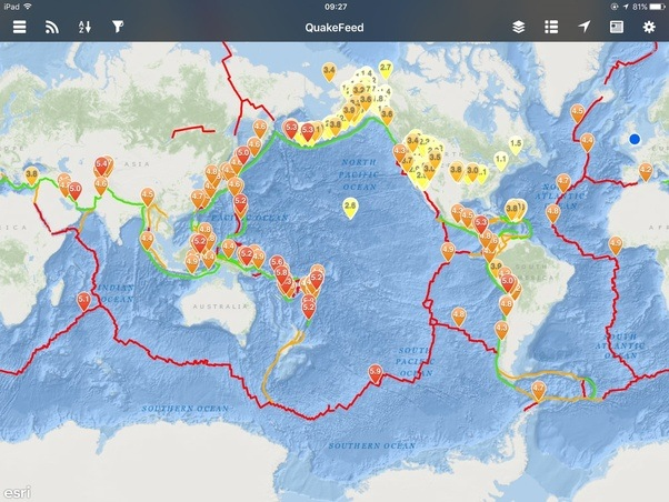 Why are there earthquake clusters around alaska and california this is a screen print of an app called quakefeed and in this picture it is showing the last 7 days of earthquakes with an intensity greater than 1 gumiabroncs Image collections