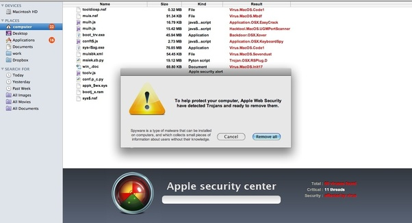 I've installed an antivirus for Mac and it has found some