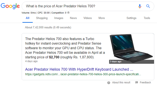 What is the price of Acer Predator Helios 700? - Quora