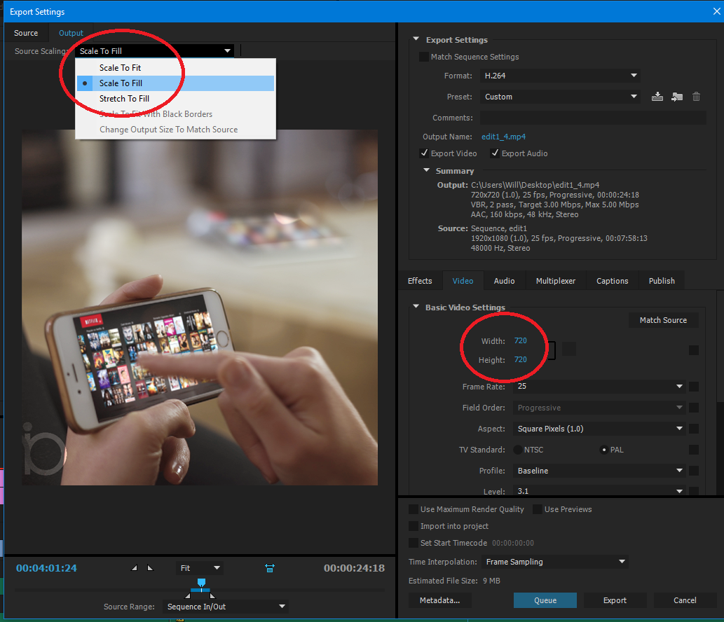 What are premiere pro export settings for Facebook videos