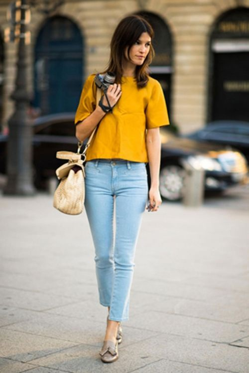 With blue pants yellow shirt What color