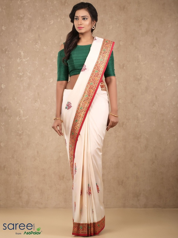 5604be676b91b Which colour of blouse will suit a plain cream silk saree  - Quora