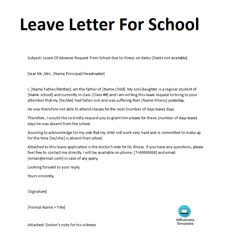 Source Leave Letter For School