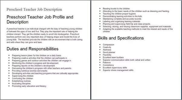 Child Care Assistant Duties For Resume