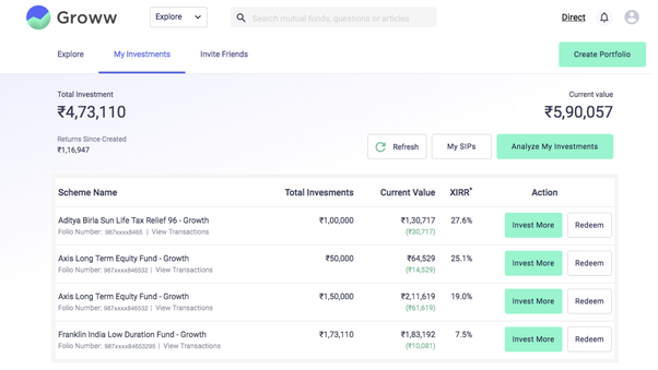 Which way is better to invest in mutual funds zerodha or groww or if you click on analyze my investments beside my sips button you will get a detailed analysis of all your mutual fund investments on groww solutioingenieria Images