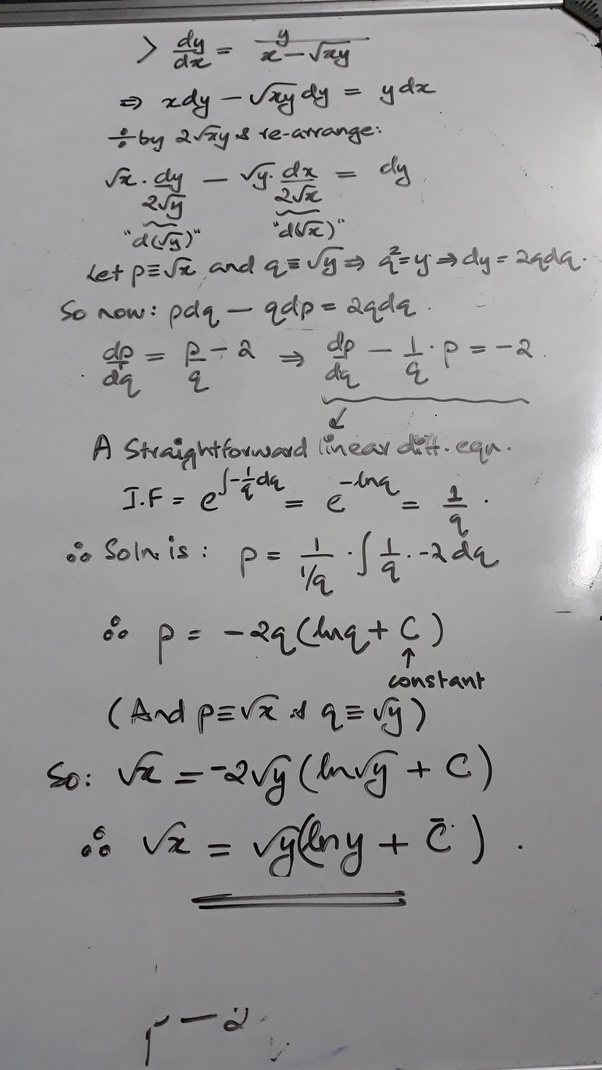 How To Solve The Problem Dy/dx=y/(x-sqrt(xy)) - Quora