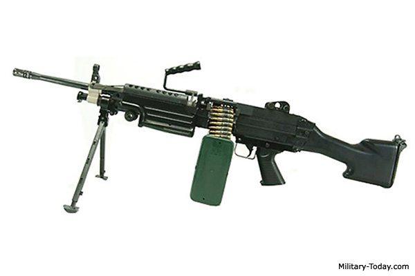 Image: M249 Light Machine Gun note the barrel hanging handle.