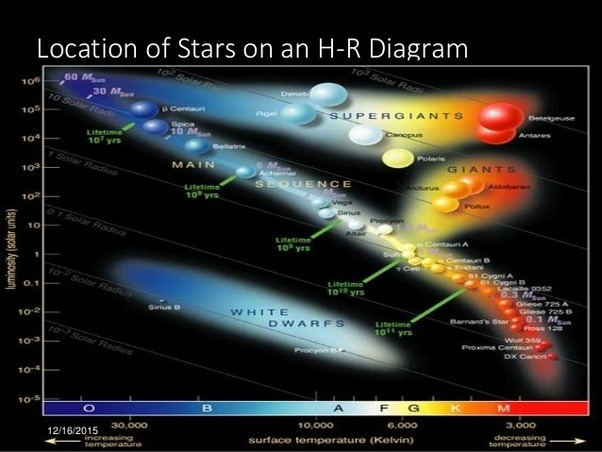 How do we know about the stages of a stars life when we have only they separated stars by luminosity and spectrum and made what is called an hr diagram which shows that most stars in their adulthood are grouped along a ccuart Gallery