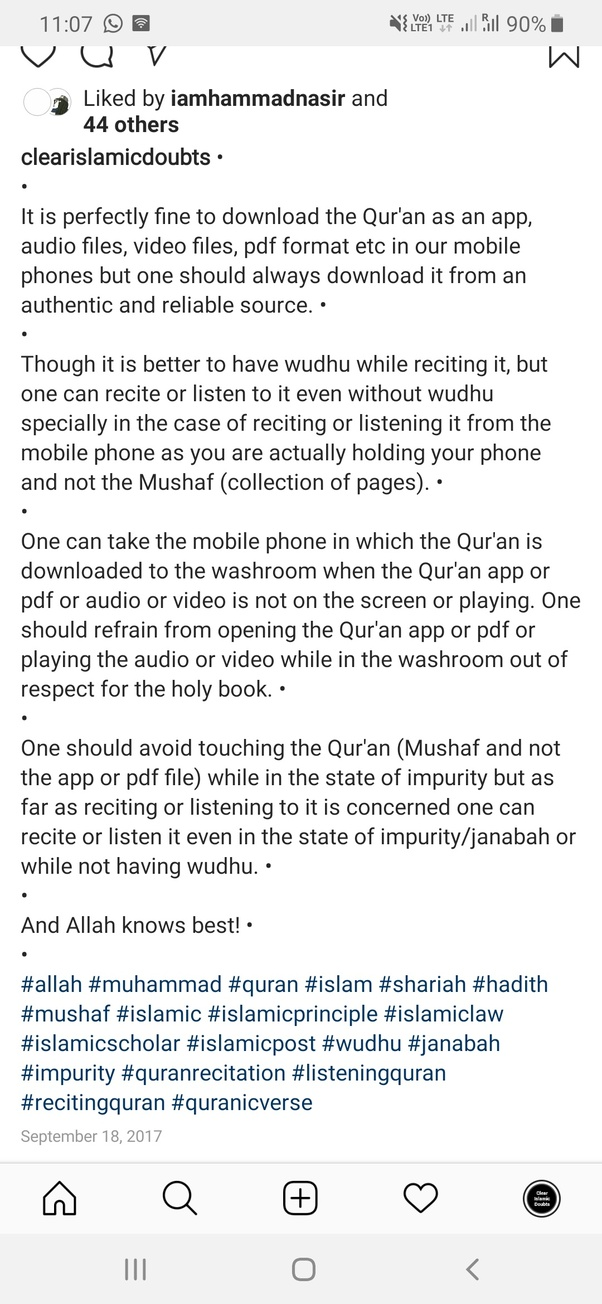What is the Islamic ruling on reading Quran through phone