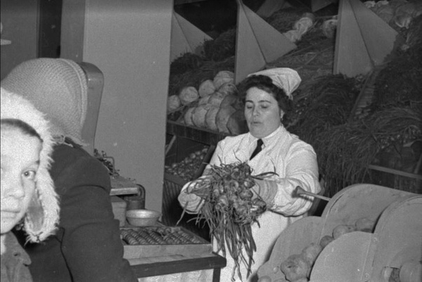 Soviet vegetables fruit shop Moscow
