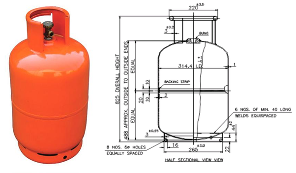 What is the dimension of a 14.2 kg LPG cylinder in India ...