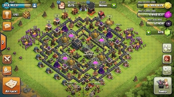 What is the best farming layout for town hall 9 in clash of clans so if you are passing highest time among all town halls you must assure safety of your resources i am adding my layout of th9 which is very effective anti sciox Choice Image