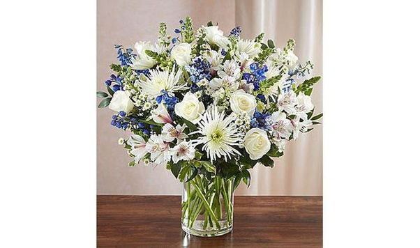 Should i send flowers on my boyfriends birthday quora show your support with this beautifully arranged bouquet featuring a soothing mix of blue delphinium white roses and alstroemeria mightylinksfo