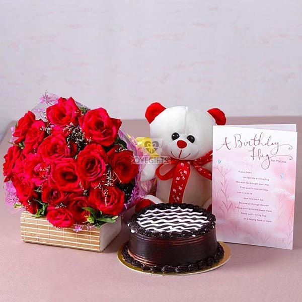 Bouquet Of 15 Red Color Roses Along With Teddy Bear Size 6 Inch And Half Kg Chocolate Cake Birthday Greeting Card
