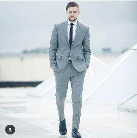 Cavani Mens Light Blue Grey Navy Elbow Patch 3 Piece Formal Smart Suit Tailored Fit