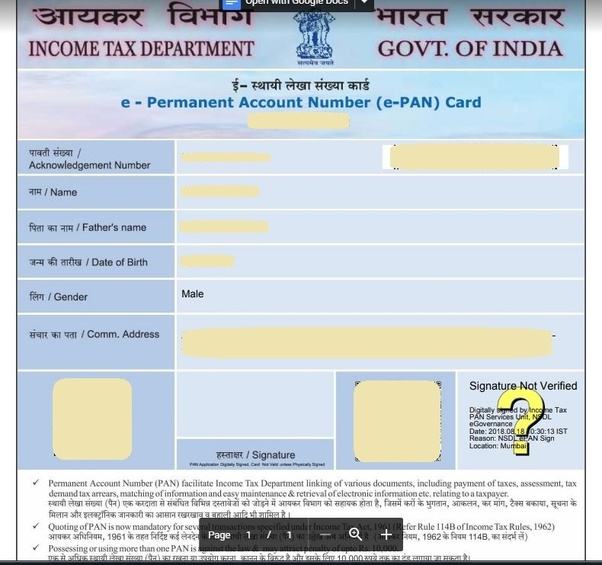 Pan Card Form Pdf 2018