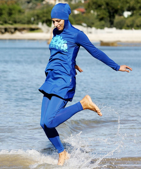 d50b89a2 A burkini is a type of modesty swimsuit for women. Originally designed in  Australia by Aheda Zanetti, the suit covers the whole body except the face,  ...