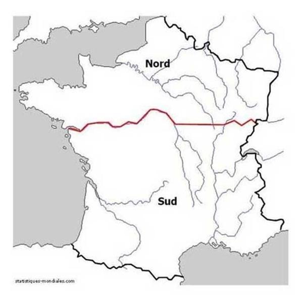 carte de france avec nord sud est et ouest